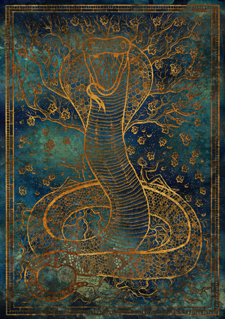 Gold Snake symbol with Eve, Adam, tree of knowledge and flowers on blue texture background. Fantasy engraved illustration. Zodiac animals of eastern calendar, mysterious concept
