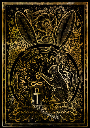 Rabbit symbol on black texture background. Hair with mortar and pestel, baroque and floral decorations in fire circle. Fantasy engraved illustration. Zodiac animals of eastern calendar, mysterious concept 版權商用圖片