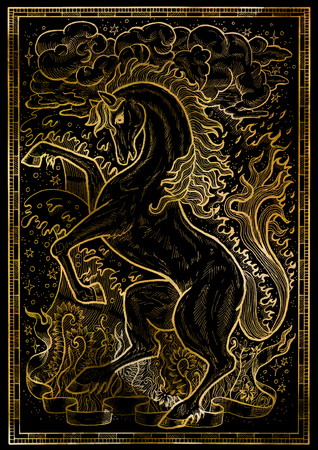 Horse symbol with four nature elements, fire, air, water and earth mystic signs on black texture background. Fantasy engraved illustration. Zodiac animals of eastern calendar, mysterious concept Imagens