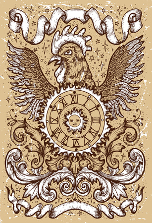 Rooster symbol with clock, sun, baroque decorations and vignette ribbons on old texture background. Fantasy engraved illustration. Zodiac animals of eastern calendar, mysterious concept Illusztráció