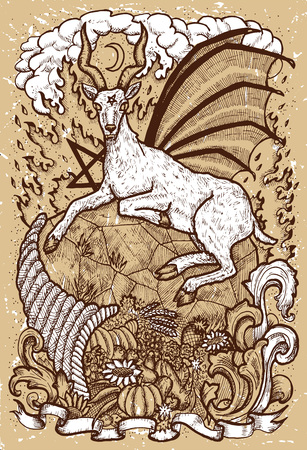 Goat symbol with horn of abundance, hell fire and diabolic sign - pentagram on old texture background. Fantasy engraved illustration. Zodiac animals of eastern calendar, mysterious concept Illustration