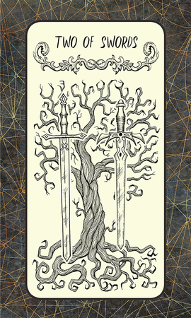 Two of swords. Minor Arcana tarot card. The Magic Gate deck. Fantasy engraved illustration with occult mysterious symbols and esoteric concept, vintage background Stock Photo