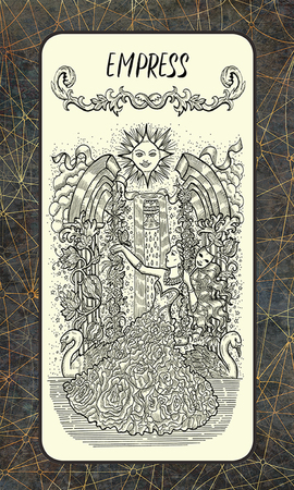 Empress. Major Arcana tarot card. The Magic Gate deck. Fantasy engraved illustration with occult mysterious symbols and esoteric concept, vintage background