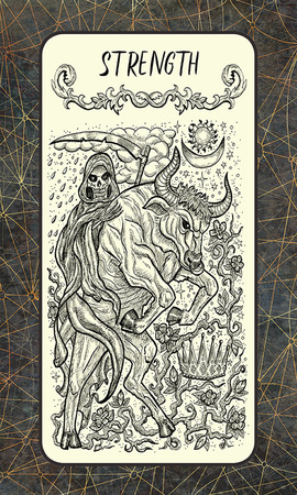 Strength. Major Arcana tarot card. The Magic Gate deck. Fantasy engraved illustration with occult mysterious symbols and esoteric concept, vintage background Stock Photo
