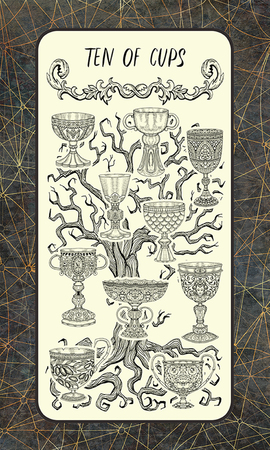 Ten of cups. Minor Arcana tarot card. The Magic Gate deck. Fantasy engraved illustration with occult mysterious symbols and esoteric concept, vintage background