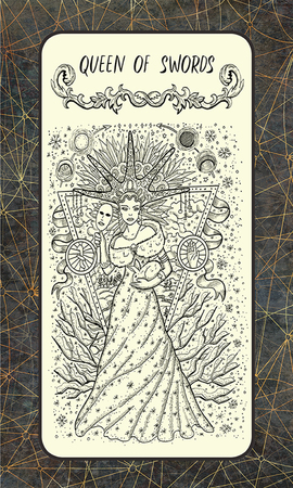 Queen of swords. Minor Arcana tarot card. The Magic Gate deck. Fantasy engraved illustration with occult mysterious symbols and esoteric concept, vintage background Standard-Bild - 101012093