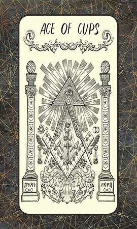 Ace of cups. Minor Arcana tarot card. The Magic Gate deck. Fantasy engraved illustration with occult mysterious symbols and esoteric concept, vintage background