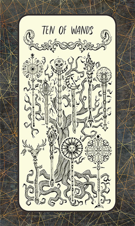 Ten of wands. Minor Arcana tarot card. The Magic Gate deck. Fantasy engraved illustration with occult mysterious symbols and esoteric concept, vintage background