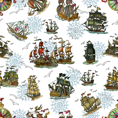 Seamless pattern with old sailing ships and compass on white. Pirate adventures, treasure hunt and old transportation concept. Hand drawn colorful illustration, vintage background