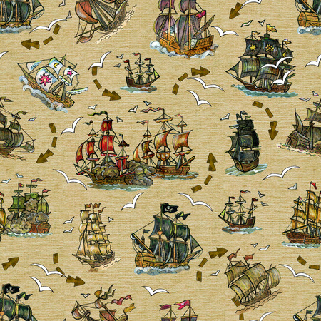 Seamless background with old sailing ships and gull on old texture. Pirate adventures, treasure hunt and old transportation concept. Hand drawn colorful illustration, vintage background