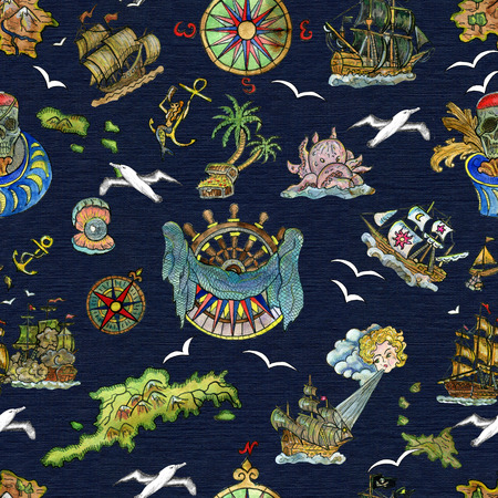 Seamless pattern with pirate adventures concept, treasure islands, old sailing ships, nautical symbols on blue. Pirate adventures, treasure hunt and old transportation concept. Hand drawn colorful illustration, vintage background