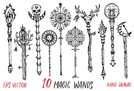 Black and white collection with magic wands. Hand drawn doodle engraved illustration with graphic drawings  イラスト・ベクター素材