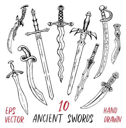Vintage collection with ancient swords isolated on white. Hand drawn doodle engraved illustration with graphic drawings