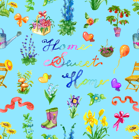 Seamless background with old cottage, garden objects, flowers and lettering. Vintage rural pattern with watercolor illustrations. Gardening and home countryside concept