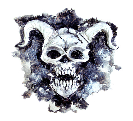 Black silhouette of demon face with mystic cosmic patterns on white. Death symbol, black magic concept. Occult, esoteric and Halloween illustration Stock Photo