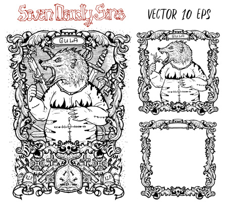 Gluttony. Latin word Gula means Overweight or Obesity. Seven deadly sins concept, black and white vector set with frame. Hand drawn engraved illustration, tattoo and t-shirt design, religious symbol Illustration