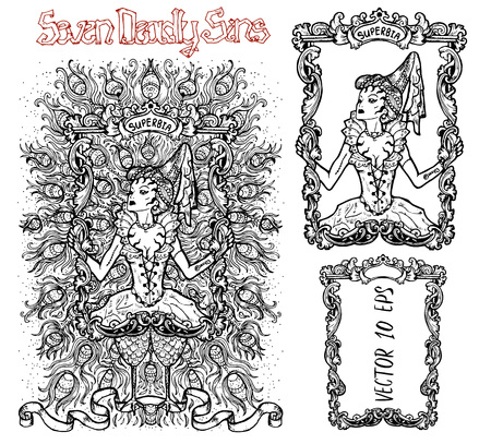 Pride. Latin word Superbia means Vanity. Seven deadly sins concept, black and white vector set with frame. Hand drawn engraved illustration, tattoo and t-shirt design, religious symbol