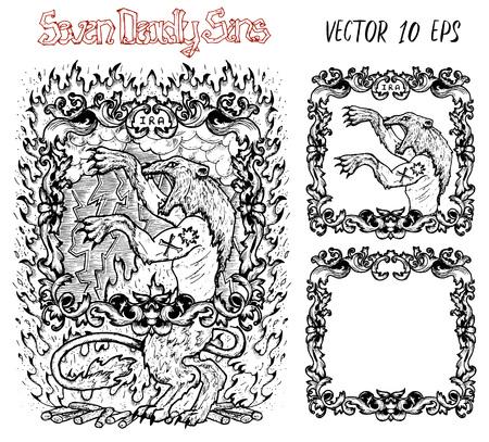 Ira. La palabra latina Ira significa ira. Concepto de siete pecados capitales, vector blanco y negro con marco. Dibujado a mano ilustración grabada, diseño de tatuaje y camiseta, símbolo religioso Ilustración de vector