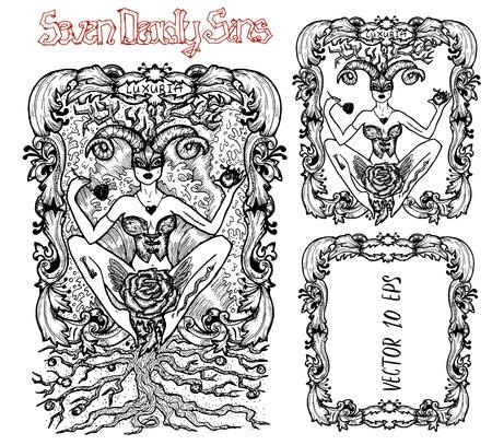 Lujuria. La palabra latina Luxuria significa Pasión, deseo. Concepto de siete pecados capitales, vector blanco y negro con marco. Dibujado a mano ilustración grabada, diseño de tatuaje y camiseta, símbolo religioso
