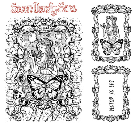 Sloth. Latin word Acedia means Despair or Apathy. Seven deadly sins concept, black and white vector set with frame. Hand drawn engraved illustration, tattoo and t-shirt design, religious symbol Illustration