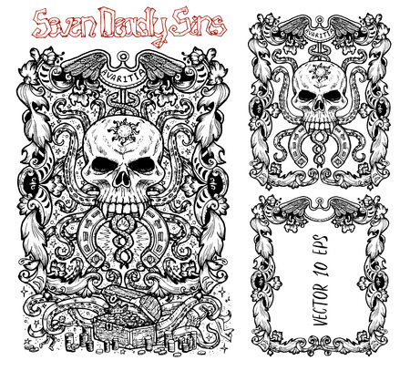 Greed. Latin word Avaritia means Avarice. Seven deadly sins concept, black and white vector set with frame. Hand drawn engraved illustration, tattoo and t-shirt design, religious symbol
