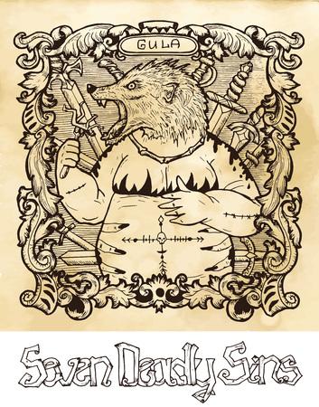 Glotonería. La palabra latina Gula significa obesidad. Concepto de siete pecados capitales sobre fondo de vector de textura. Colección de vectores con marco. Dibujado a mano ilustración grabada, diseño de tatuaje y camiseta, símbolo religioso