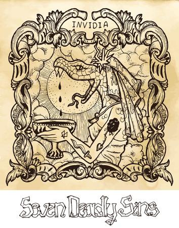 Envie. Le mot latin Invidia signifie jalousie. Concept de sept péchés capitaux sur fond de vecteur de texture. Collection de vecteur avec cadre. Illustration gravée à la main, conception de tatouage et de t-shirt, symbole religieux