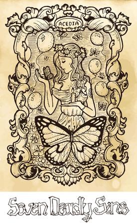 Paresseux. Le mot latin Acedia signifie désespoir ou apathie. Concept de sept péchés capitaux sur fond de vecteur de texture. Collection de vecteur avec cadre. Illustration gravée à la main, conception de tatouage et de t-shirt, symbole religieux