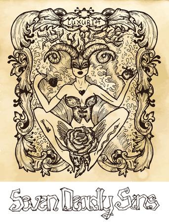 Luxure. Le mot latin Luxuria signifie Passion, désir. Concept de sept péchés capitaux sur fond de vecteur de texture. Collection de vecteur avec cadre. Illustration gravée à la main, conception de tatouage et de t-shirt, symbole religieux