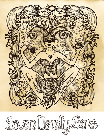 Lust. Latin word Luxuria means Passion, sexual desire. Seven deadly sins concept on texture vector background. Vector collection with frame. Hand drawn engraved illustration, tattoo and t-shirt design, religious symbol