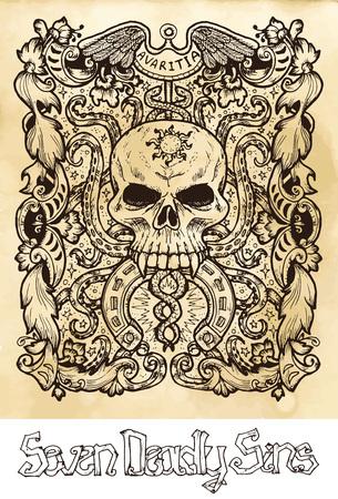 Avidità. La parola latina Avaritia significa Avarizia. Concetto di sette peccati capitali su priorità bassa di vettore di struttura. Accumulazione di vettore con cornice. Illustrazione incisa disegnata a mano, disegno del tatuaggio e della maglietta, simbolo religioso