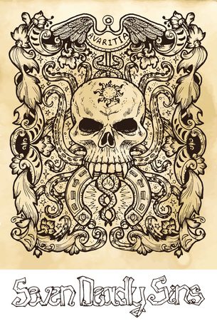 Greed. Latin word Avaritia means Avarice. Seven deadly sins concept on texture vector background. Vector collection with frame. Hand drawn engraved illustration, tattoo and t-shirt design, religious symbol