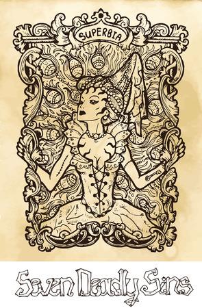 Orgullo. La palabra latina Superbia significa vanidad. Concepto de siete pecados capitales sobre fondo de textura. Colección de vectores con marco. Dibujado a mano ilustración grabada, diseño de tatuaje y camiseta, símbolo religioso Ilustración de vector