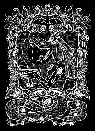 Envy. Latin word Invidia means Jealousy. Seven deadly sins concept, white silhouette on black background. Hand drawn engraved illustration, tattoo and t-shirt design, religious symbol Stock Photo