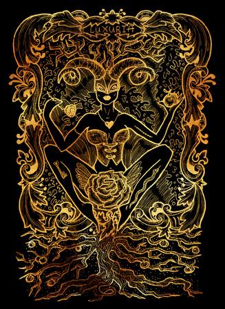 Gourmandise. Le mot latin Gula signifie l'obésité. Concept de sept péchés capitaux sur fond noir. Illustration gravée à la main, conception de tatouage et de t-shirt, symbole religieux Banque d'images