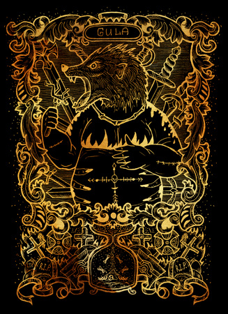 Gluttony. Latin word Gula means Obesity. Seven deadly sins concept on black background. Hand drawn engraved illustration, tattoo and t-shirt design, religious symbol Stock Photo