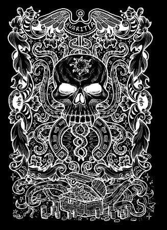 Avidité. Le mot latin Avaritia signifie Avarice. Concept de sept péchés capitaux, silhouette blanche sur fond noir. Illustration gravée à la main, conception de tatouage et de t-shirt, symbole religieux