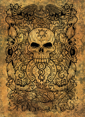 Greed. Latin word Avaritia means Avarice. Seven deadly sins concept on grunge background. Hand drawn engraved illustration, tattoo and t-shirt design, religious symbol