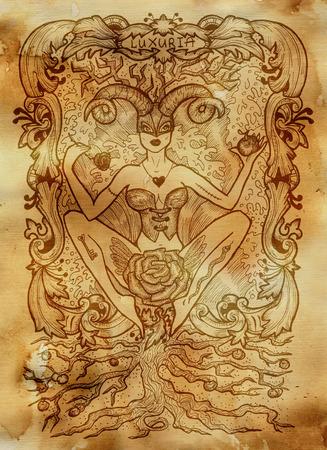 Luxure. Le mot latin Luxuria signifie désir. Concept de sept péchés capitaux sur fond de papier ancien. Illustration gravée à la main, conception de tatouage et de t-shirt, symbole religieux
