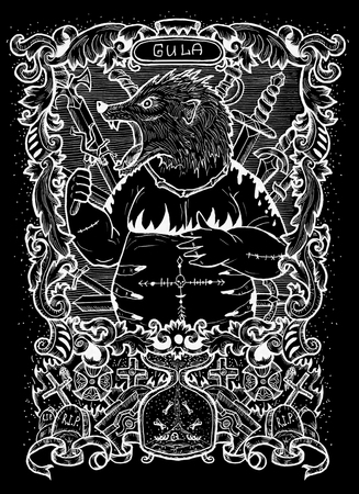 Gluttony. Latin word Gula means Obesity. Seven deadly sins concept, white silhouette on black background. Hand drawn engraved illustration, tattoo and t-shirt design, religious symbol