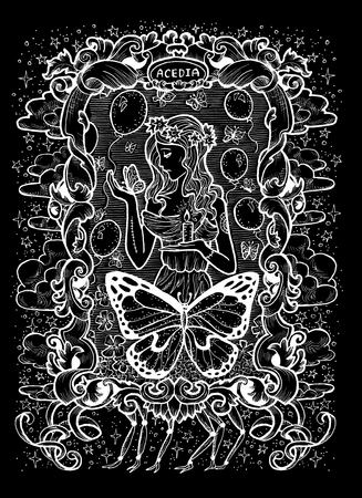 Sloth. Latin word Acedia means Despair. Seven deadly sins concept, white silhouette on black background. Hand drawn engraved illustration, tattoo and t-shirt design, religious symbol
