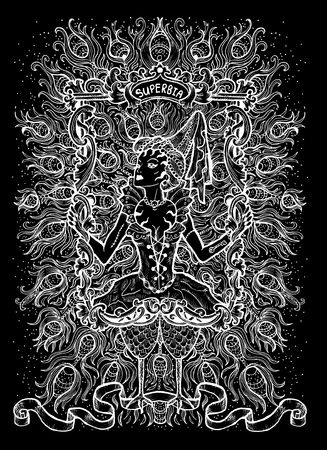 Pride. Latin word Superbia means Vanity. Seven deadly sins concept, white silhouette on black background. Hand drawn engraved illustration, tattoo and t-shirt design, religious symbol