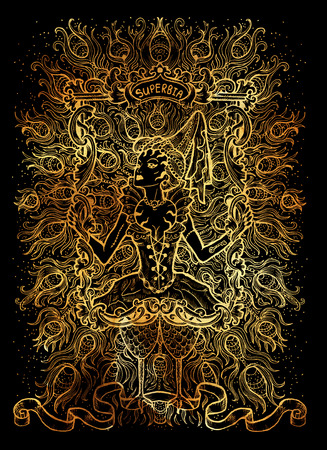 Pride. Latin word Superbia means Vanity. Seven deadly sins concept on black background. Hand drawn engraved illustration, tattoo and t-shirt design, religious symbol