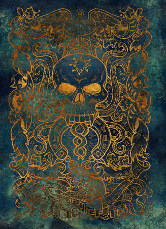 Greed. Latin word Avaritia means Avarice. Seven deadly sins, gold silhouette on blue background. Hand drawn engraved illustration, tattoo and t-shirt design, religious symbol