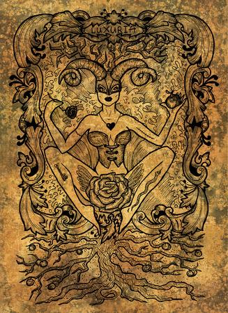 Luxure. Le mot latin Luxuria signifie désir. Concept de sept péchés capitaux sur fond grunge. Illustration gravée à la main, conception de tatouage et de t-shirt, symbole religieux Banque d'images