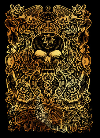 Greed. Latin word Avaritia means Avarice. Seven deadly sins concept on black background. Hand drawn engraved illustration, tattoo and t-shirt design, religious symbol Stock Photo