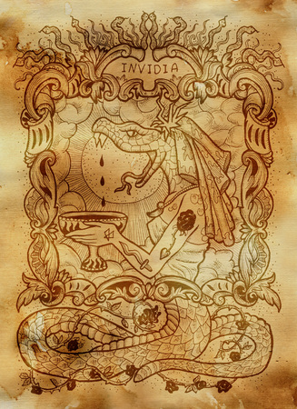 Envy. Latin word Invidia means Jealousy. Seven deadly sins concept on old paper background. Hand drawn engraved illustration, tattoo and t-shirt design, religious symbol