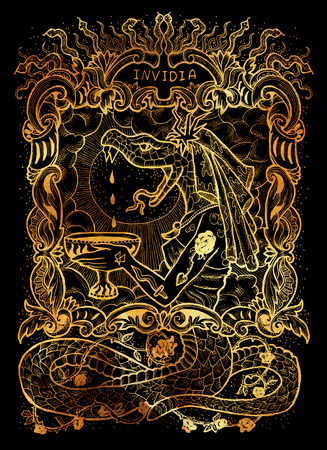 Envy. Latin word Invidia means Jealousy. Seven deadly sins concept on black background. Hand drawn engraved illustration, tattoo and t-shirt design, religious symbol