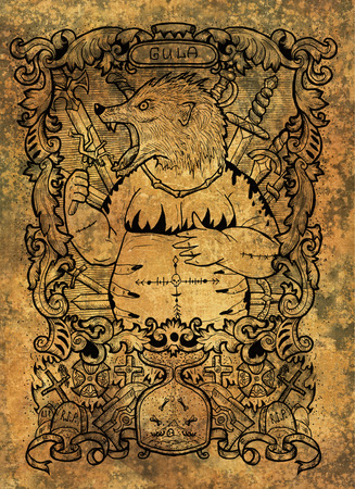 Gluttony. Latin word Gula means Obesity. Seven deadly sins concept on grunge background. Hand drawn engraved illustration, tattoo and t-shirt design, religious symbol