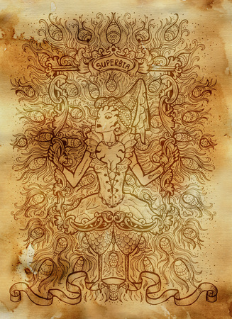 Pride. Latin word Superbia means Vanity. Seven deadly sins concept on old paper background. Hand drawn engraved illustration, tattoo and t-shirt design, religious symbol